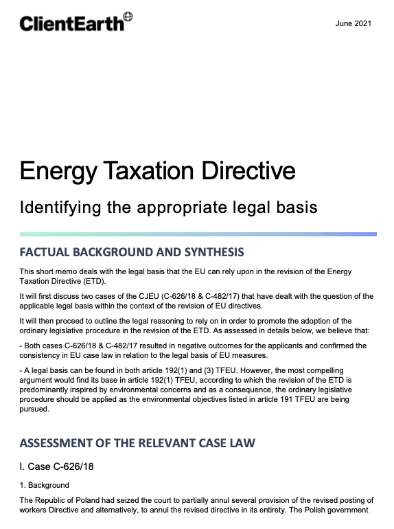 Energy Taxation Directive: Identifying the appropriate legal basis