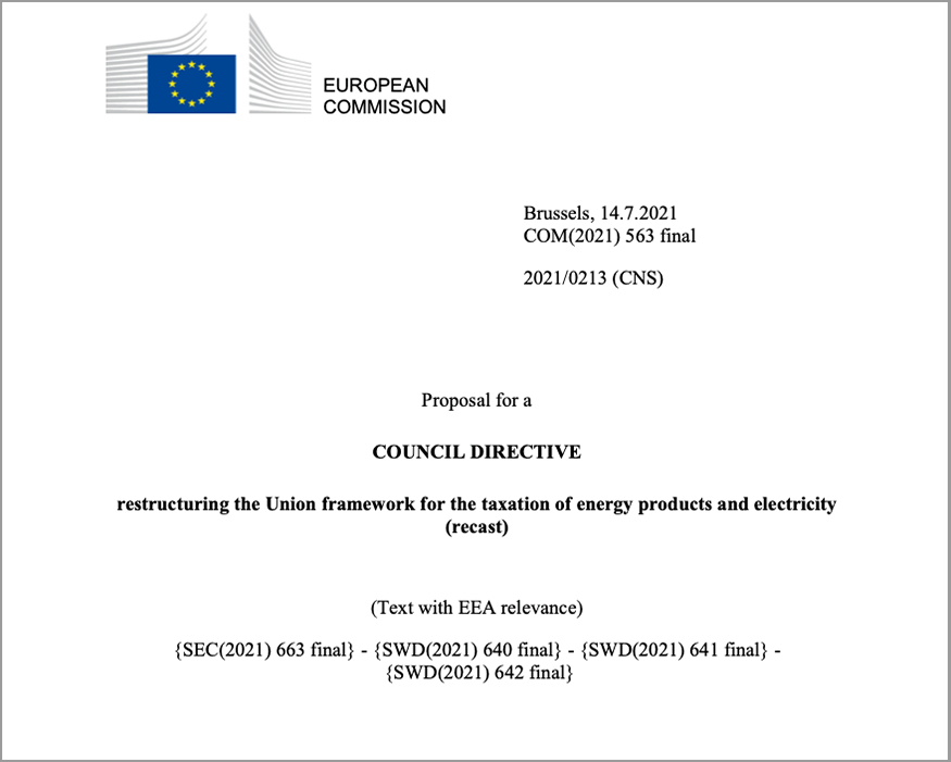 Proposal for a Council Directive: Restructuring the Union framework for the taxation of energy products and electricity